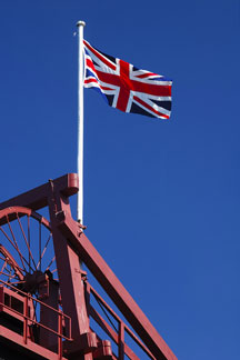 Great Britain flag flying at a British coal mine
